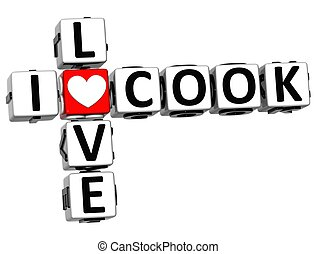 3D I Love Cook Crossword Block text on white background