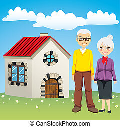 Sweet Retirement House - Senior couple standing in front of...