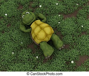 tortoise lying on grass in flowers - 3D render of a tortoise...