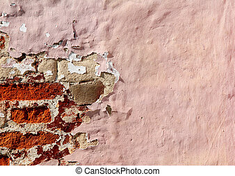 Brick wall - Old brick wall covered with paint