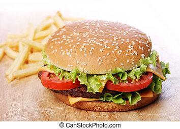 grande, hambúrguer, lascas