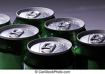 Cans with cold drink