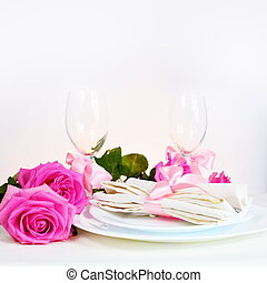Arrangement for Romantic Dinner with Pink Roses
