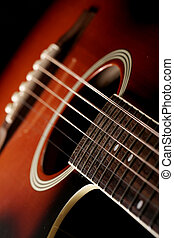 Classic acoustic guitar - Close up of classic acoustic...