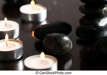 Massage stones and candles