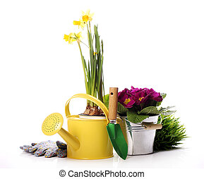 Different gardening stuff over white background