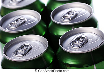 Cans with cold drink - Close up of cans with cold drink