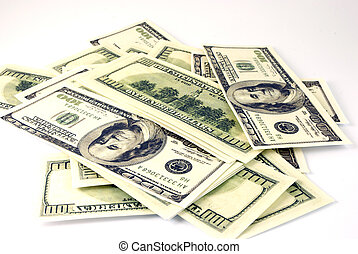 paper money, US dollars on a white background
