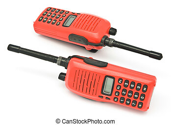 Red radio communication on white background