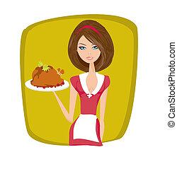 Waitress serving a chicken