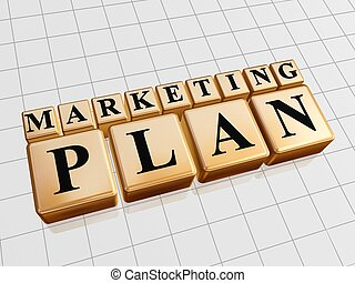 marketing plan ? golden boxes with black letters