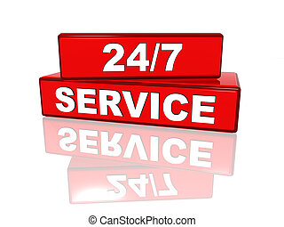 Non-stop service - 24/7 service ? white text on red boxes