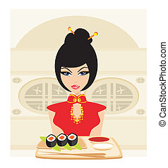 Asian girl enjoy sushi
