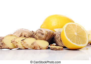 Fresh ginger root and lemon