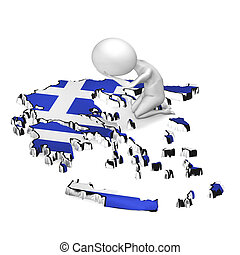 Greece crisis 3d guy sitting on the map - Greece crisis...