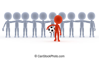 Football, soccer team leader with ball and his people....