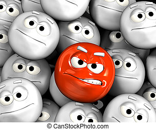 Angry emoticon face among others - Angry emoticon face among...