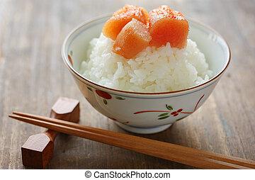 seasoned cod roe on the rice - japanese food
