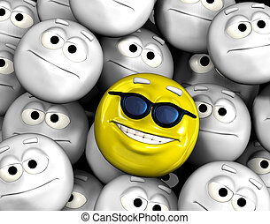 Happy smiling emoticon face among others - Happy smiling...