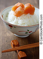seasoned cod roe on the rice - japanese food