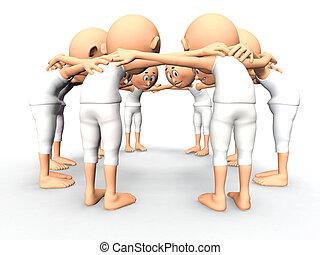 Team spirit, business debate. 3d little humans - Team...