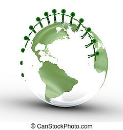 Earth globe and conceptual people together. Environment,...
