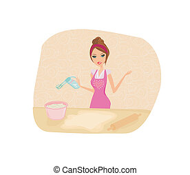 Beautiful lady cooking