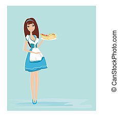 beautiful waitress with a tray , vector illustration