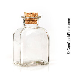 blank glass bottle with cork stopper on white