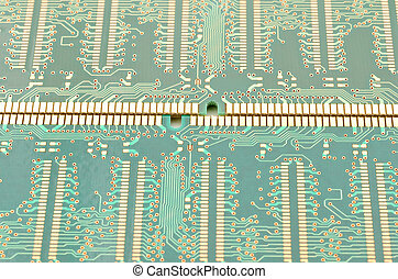 Printed wiring - Close up printed wiring of a computer...