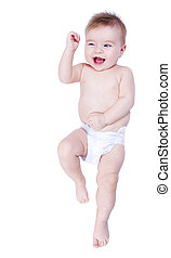 Happy As Can Be - Little baby in diapers making gesture...