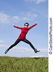 be active stay healthy - jumping woman - happy jumping woman...