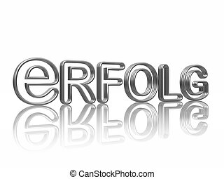 Erfolg - 3d silver text success with reflection