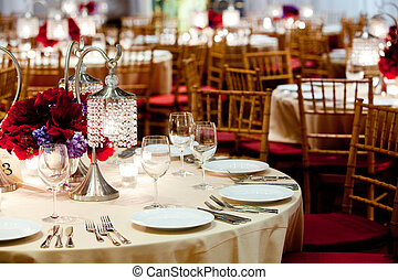 wedding tables - fancy wedding tables set up during a...