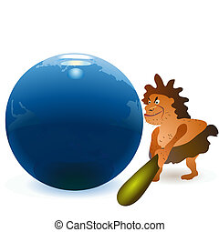 Caveman striking the globe with big cudgel
