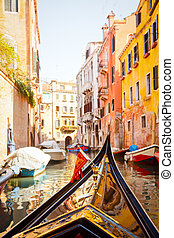 Gondola trip in Venice - A view from gondola during the ride...