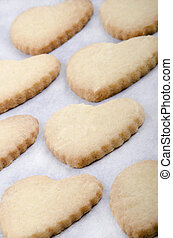 Pastry with cookie cutter with a heart-shape