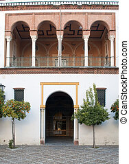 Facade of historical building with arches