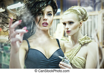 Two stunning ladies in an old facto