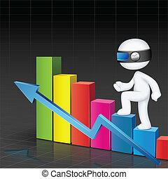 3d Man climbing Bar Graph - illustration of 3d business man...