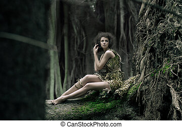 Eco woman sitting on the trunk
