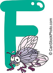 F for fly - cartoon illustration of F letter for fly