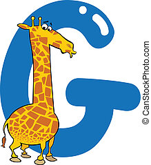 G for giraffe - cartoon illustration of G letter for giraffe