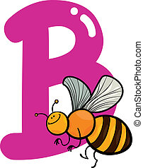 B for bee - cartoon illustration of B letter for bee