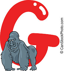 G for gorilla - cartoon illustration of G letter for gorilla