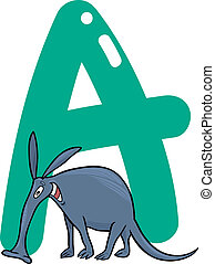 A for aardvark - cartoon illustration of A letter for...