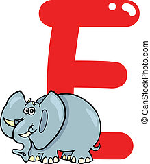 E for elephant - cartoon illustration of E letter for...