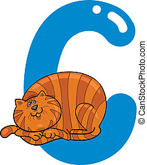 C for cat - cartoon illustration of C letter for cat