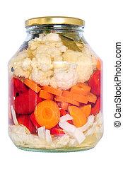 Jar of pickled vegetables - Food preservation Jar of pickled...
