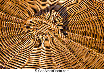 Background of hand-woven basket reed lid handle